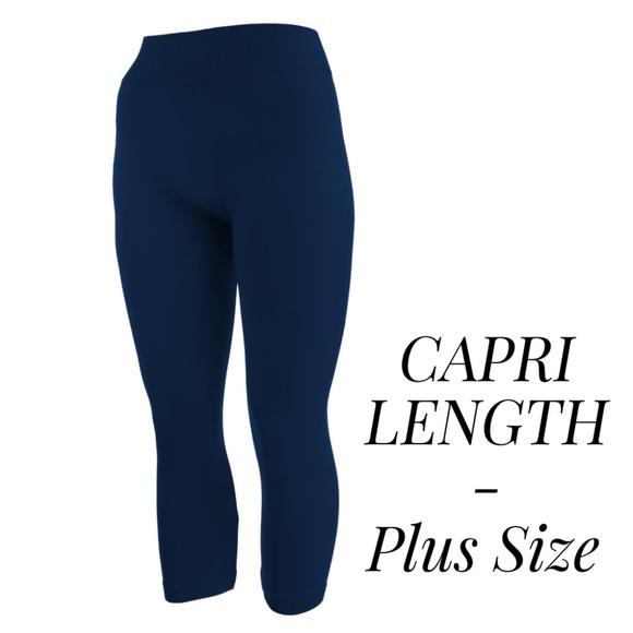 6e86f58721a1f3 Pants | Navy Blue Capri Leggings Plus Size | Poshmark